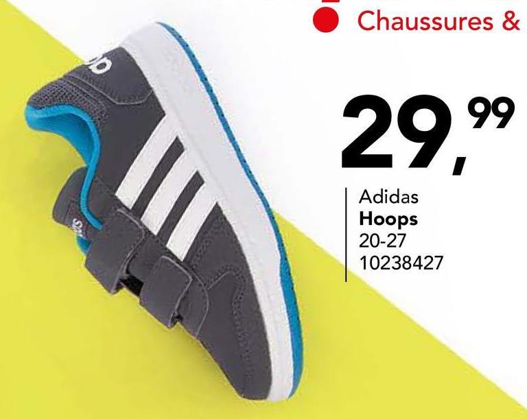 Chaussure de sport Adidas A la recherche d'une chaussure de sport confortable pour garçons? Optez pour ce modèle de Adidas (HOOPS COMF INF AQ1661)! La fermeture se fait par deux bandes velcro très pratiques.