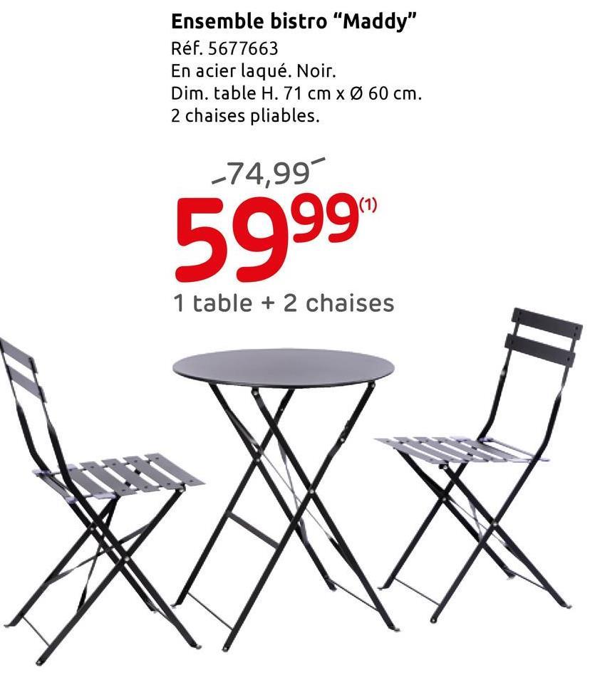 Ensemble bistro Central Park 'Maddy' noir Envie de profiter des beaux jours? Ce sympathique set bistro de Central Park 'Maddy' de coloris anthracite est l'élément extérieur idéal pour vos moments de détente. Apportez à votre jardin ou votre terrasse une atmosphère chaleureuse grâce à cet ensemble bistro, composé d'une table et de deux chaises, en acier poudré. L'acier thermolaqué offre l'avantage d'éviter la rouille sur les différents éléments du set. <br> <br>Style bistro: ce set présente une solution à la fois peu encombrante, gaie et vite rangée pour une déco extérieure qui met de bonne humeur. Ce style fait son grand retour dans votre extérieur. Grâce à ses formes simples, ses finitions soignées ainsi que sa facilité d'usage et de stockage, ce style rétro et très tendance trouvera sa place dans votre jardin ou terrasse, afin de profiter de vos moments de détente en extérieur. <br> <br>L'atout de ce produit ? Les différents éléments composant ce set sont pliables, ce qui signifie que vous pouvez facilement les ranger et les déplacer. Les dimensions de la chaise:L.45cmxl.41xH.80cm  et les dimensions de la table sont: diamètre 60cm et H. 71cm.