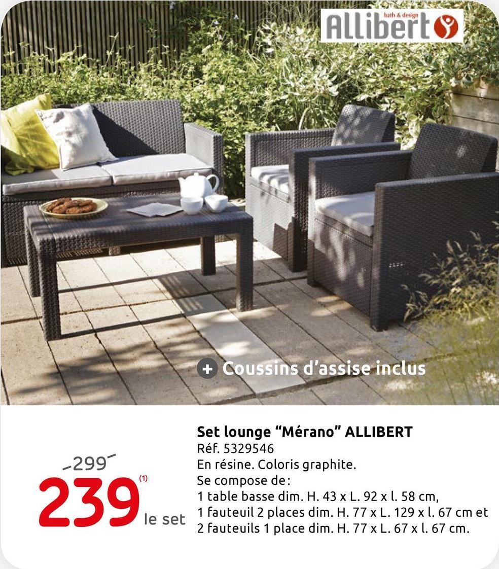 Ensemble lounge Allibert 'Merano' wicker gris Le set lounge 'Meran'' d'Allibert comprend une table basse de L. 92 x l. 58 x H. 43 cm, deux fauteuils 1 place de P. 65 x l. 67 x H. 77 cm et un canapé 2 places de P. 67 x l. 129 x H. 77 cm. Les coussins gris en polyester sont inclus (sauf les coussins décoratifs). Ce salon moderne est en matière synthétique de qualité supérieure. Il résiste aux intempéries et ne nécessite aucun entretien particulier.