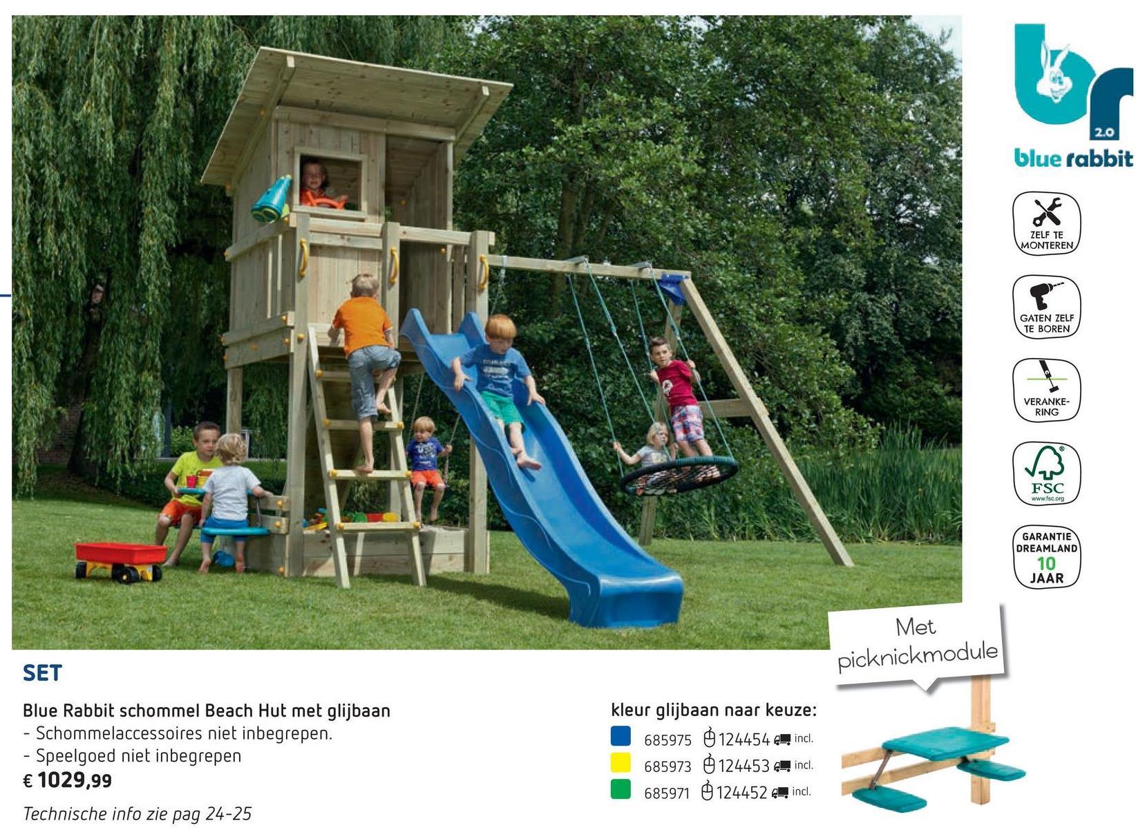 02b331b8de6 Dreamland. Blue Rabbit 2.0 schommel met speeltoren en glijbaan Beach Hut  blauw Met de schommel Beach Hut