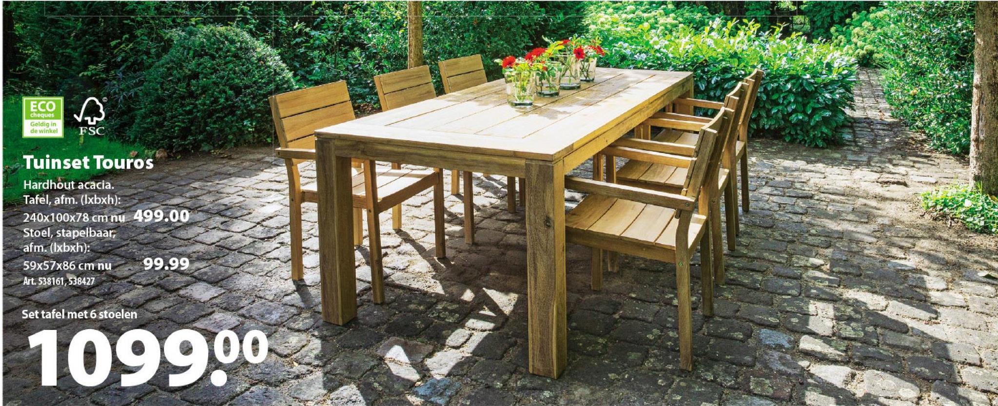 Stoel Touros Wie voor tuinmeubilair van de serie Touros kiest, kiest voor meubelen met een authentieke look & feel. De tafel en de stoelen zijn gemaakt uit acacia van duurzame afkomst met een robuuste, maar warme feel. Combineer de tafel voor 6 personen met deze stapelbare stoel Touros of een inklapbare standenstoel.