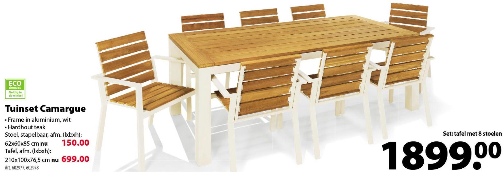 Camargue stoel De stoel Camargue verenigt 2 unieke materialen, waardoor dit tuinmeubel er tegelijkertijd authentiek en modern uitziet. Het frame is gemaakt van aluminium in de kleur wit, het zitvlak en rugvlak van duurzaam hardhout. Combineert perfect met de gelijknamige tafel.
