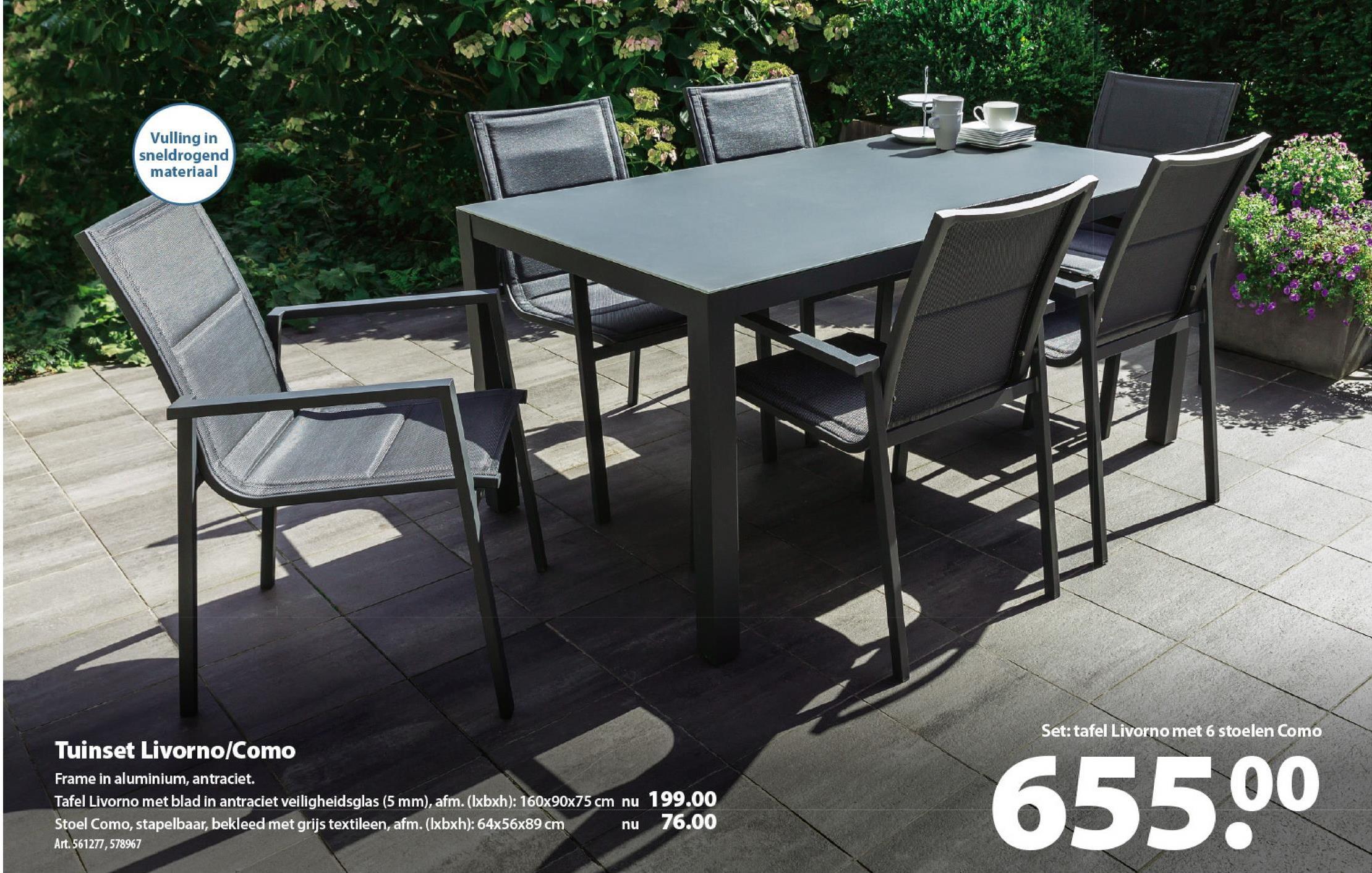 Tafel Livorno De tafel Livorno is een lichte maar stevige tuintafel, gemaakt uit aluminium in de kleur antracietgrijs en afgewerkt met een elegant tafelblad uit veiligheidsglas. Aan de luxueuze tafel kunnen makkelijk 4 tot 6 gasten aanschuiven. Combineer de tafel met de gelijknamige stoel Livorno of de standenstoel Como voor extra comfort.