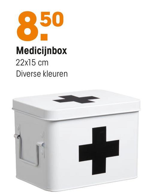Medicijnbox Groen Groene metalen medicijnbox. 15x22x15 cm (lxbxh).