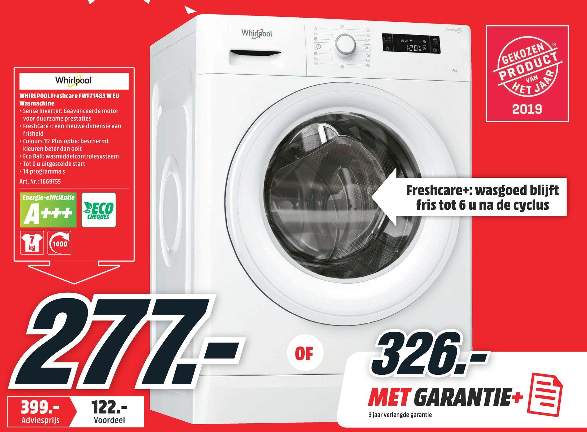 WHIRLPOOL Wasmachine voorlader FreshCare A+++ (FWF71483 W EU) WHIRLPOOL Wasmachine voorlader FreshCare A+++ (FWF71483 W EU)