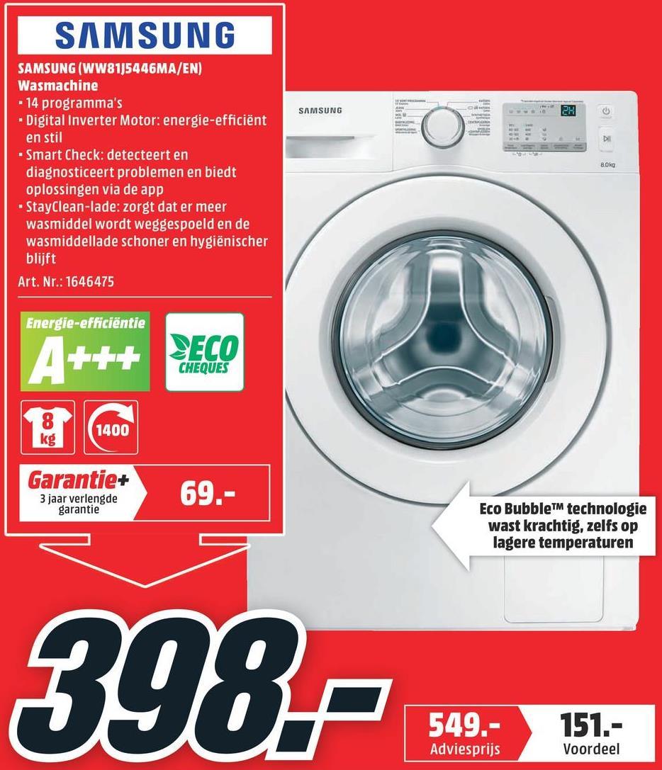 SAMSUNG Wasmachine voorlader A+++ -40% (WW81J5446MA/EN) SAMSUNG Wasmachine voorlader A+++ -40% (WW81J5446MA/EN)