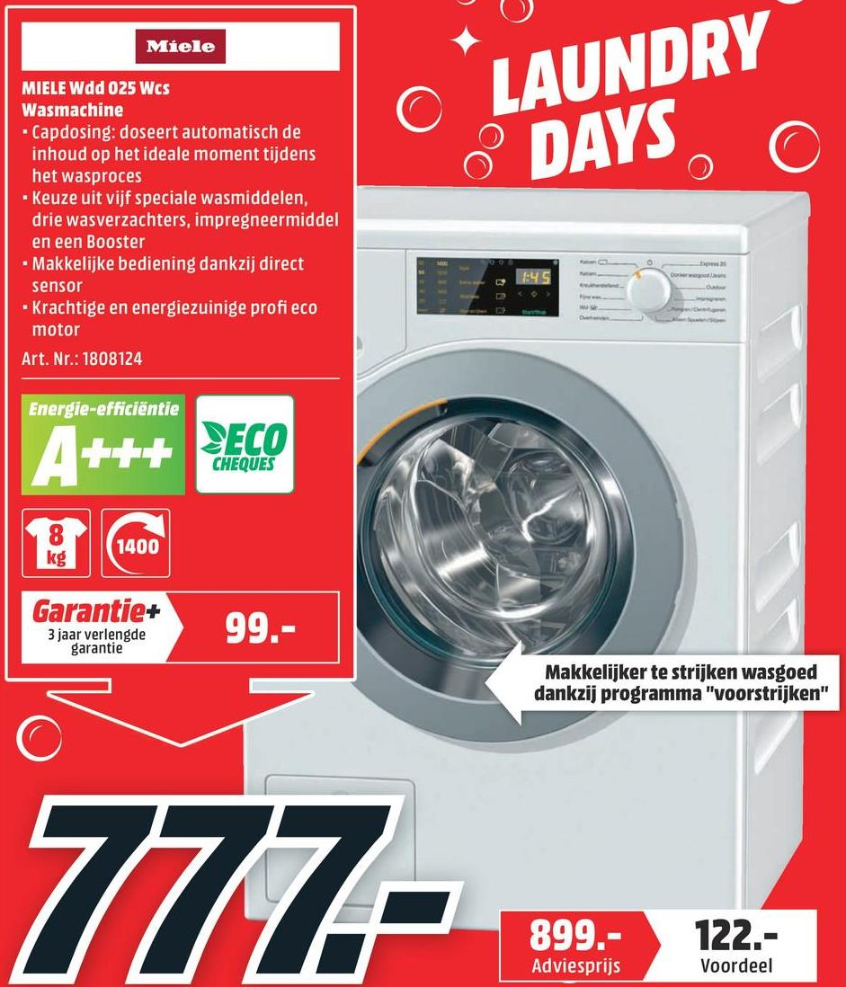 MIELE Wasmachine voorlader A+++ -10% (WDD 025 WCS) MIELE Wasmachine voorlader A+++ -10% (WDD 025 WCS)