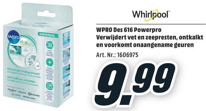 WPRO Wasmachine en vaatwasser ontkalker 3-in-1 (DES 616) WPRO Wasmachine en vaatwasser ontkalker 3-in-1 (DES 616)