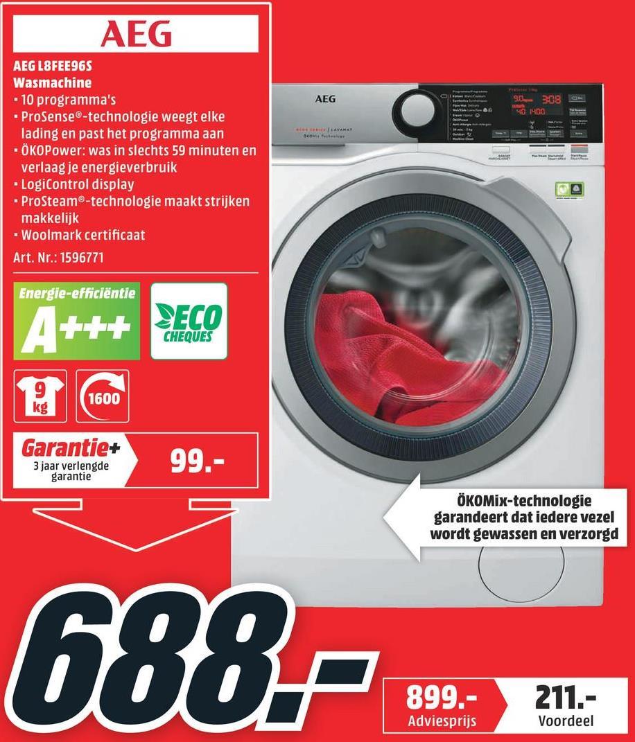 AEG Wasmachine voorlader A+++ (L8FEE96S) AEG Wasmachine voorlader A+++ (L8FEE96S)