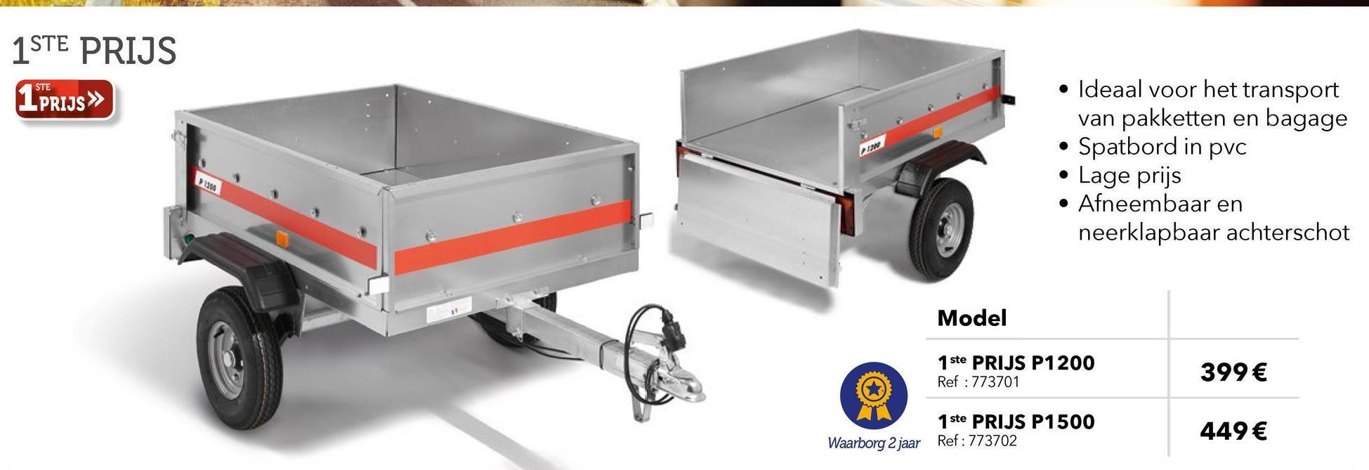 Aanhangwagen 450kg 1ste Prijs P1200 De aanhangwagen is de transportoplossing die aan uw behoeften kan voldoen. Deze kan nuttig zijn in het kader van een vertrek op vakantie, en is ook praktisch om uw materialen te verplaatsen. De aanhangwagen 1er ste Prijs P1200 450 kg is ideaal voor het vervoer van groen afval naar de groenstortplaats. Deze kleine bagagewagen zal ook heel nuttig zijn voor het laden van uw pakketten en bagages. Deze aanhangwagen wordt u volledig gemonteerd geleverd en heeft spatborden in kunststof , een rechte disselboom, een afneembaar en wegklapbaar achterschot. De zijschotten zijn in gegalvaniseerd staal waardoor hun levensduur kan worden verlengd en de uitzichtskwaliteit in de tijd kan worden behouden. Al onze aanhangwagens 1ste Prijs worden vervaardigd in Frankrijk en ondergaan de strengste tests en proeven die de controle van het productiesysteem waarborgen evenals de betrouwbaarheid , de kwaliteit en de veiligheid voor de gebruiker. Ze zijn ook uitgerust met reflecterende systemen (reflectors). De aanhangwagen 450 Kg 1ste Prijs P1200 wordt gemonteerd geleverd.