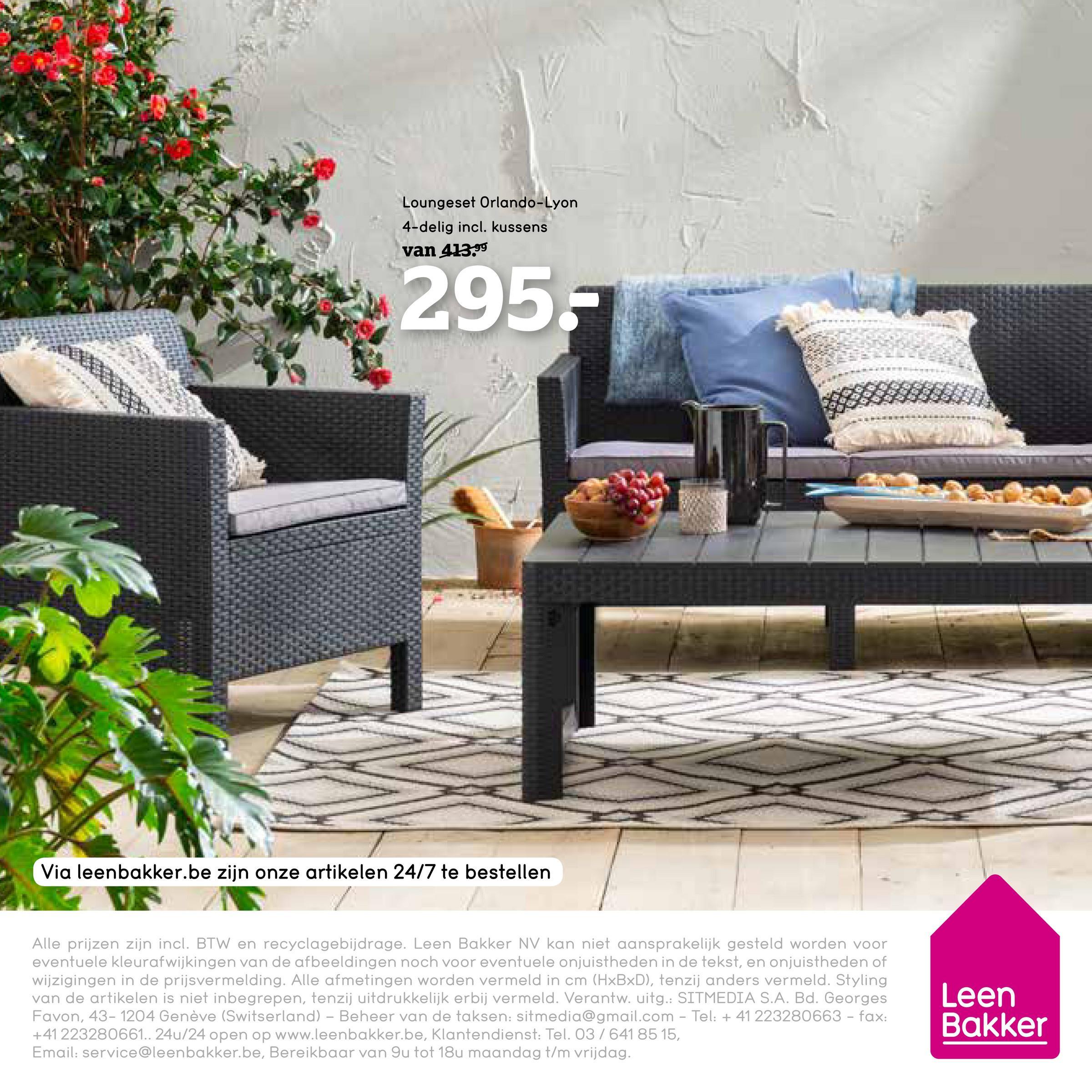Loungeset Orlando Lyon - grijs - 4-delig - incl. kussens - Leen Bakker Deze loungeset is modern vormgegeven en heeft een stijlvolle look. Deze complete set bestaat uit 2 Verona fauteuils, een zetel en een tafel Lyon. De kussens worden meegeleverd.