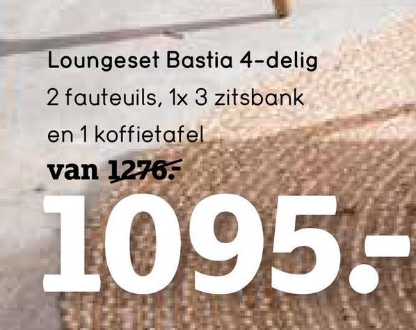 Le Sud loungeset Bastia 2-zits - taupe - 4-delig - Leen Bakker Le Sud loungeset Bastia is een eigentijdse en moderne set bestaande uit een 2-zits zetel, 2 comfortabele fauteuils en een tafel. De zachte kussens worden meegeleverd. De set is gemaakt van hoogwaardig aluminium en wicker en is taupe van kleur.