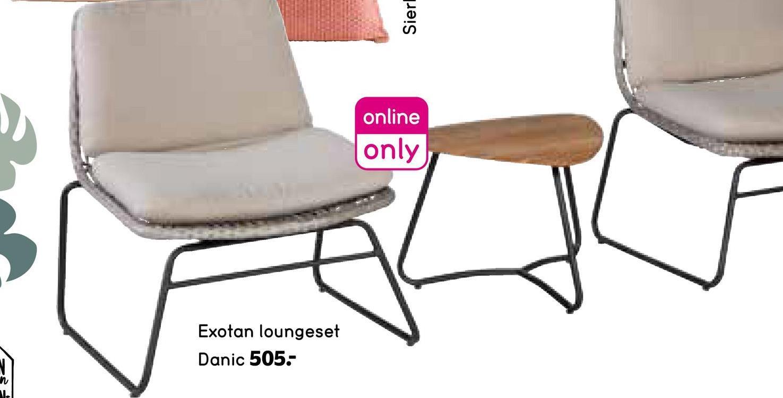Exotan loungeset Danic (incl. kussens) - bruin/beige - Leen Bakker Exotan loungeset Danic bestaat uit twee stoeltjes en een koffie tafel. Heerlijk om buiten te ontspannen in de tuin!