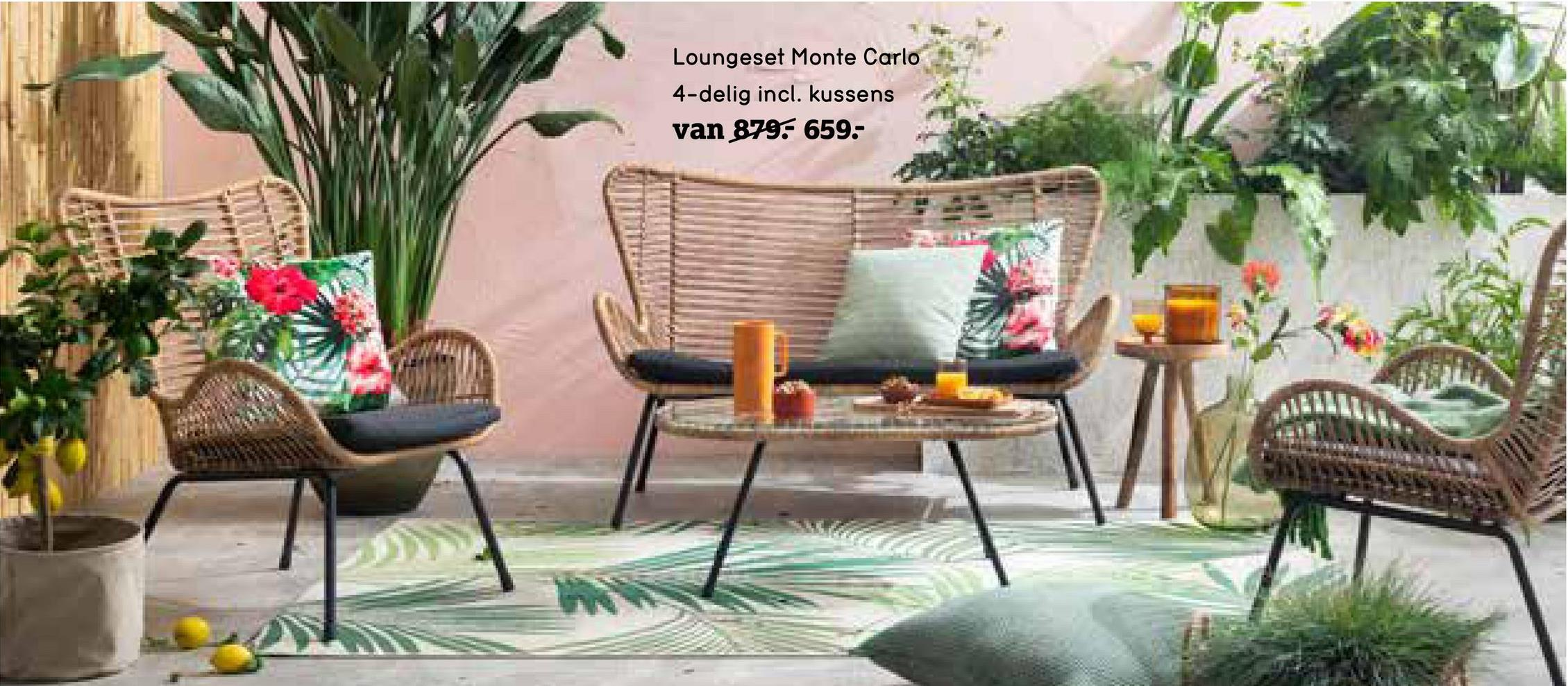 Le Sud loungeset Monte Carlo - zwart - 4-delig - Leen Bakker Le Sud loungeset Monte Carlo is een 4-delige set bestaande uit twee loungefauteuils, een loungezetel en een bijzettafeltje. Deze trendy set is van het merk Le Sud.