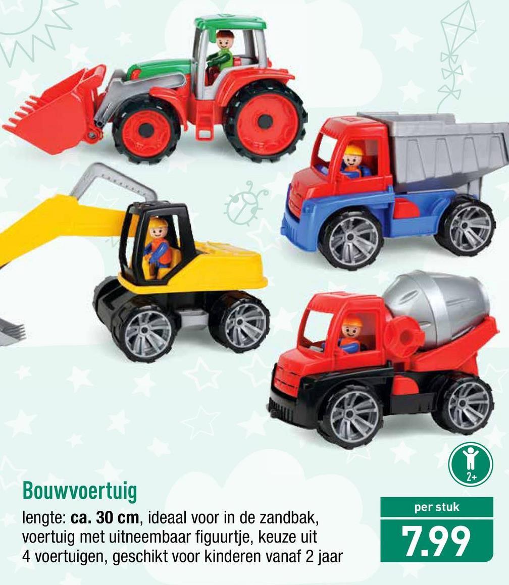 per stuk Bouwvoertuig lengte: ca. 30 cm, ideaal voor in de zandbak, voertuig met uitneembaar figuurtje, keuze uit 4 voertuigen, geschikt voor kinderen vanaf 2 jaar 7.99