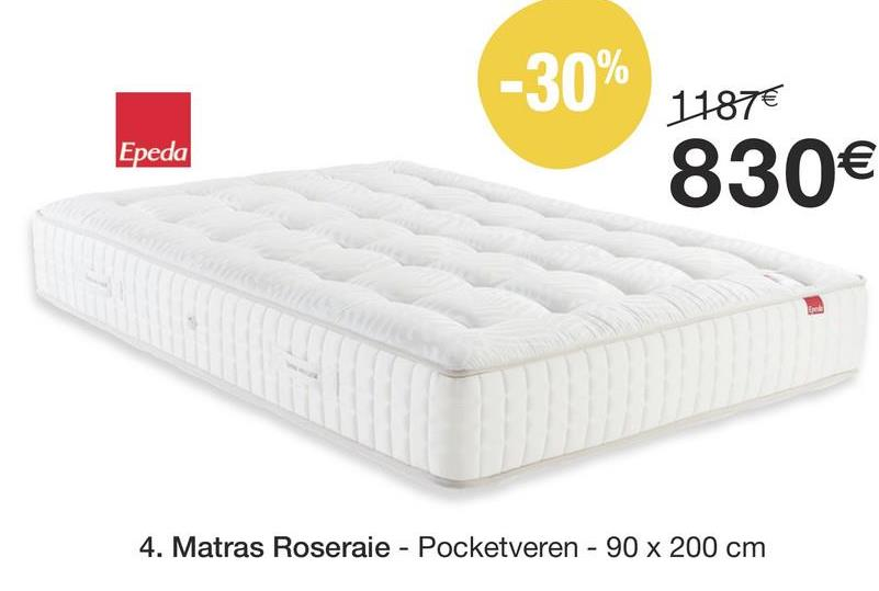 -30% 1187€ 830€ Epeda 4. Matras Roseraie - Pocketveren - 90 x 200 cm