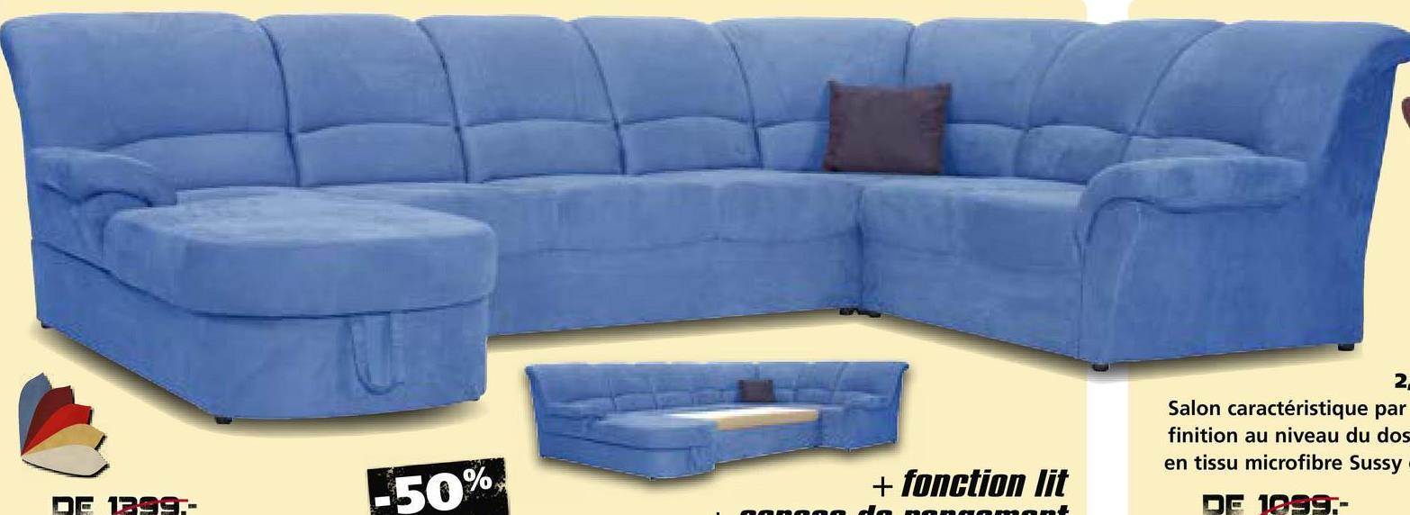 2 Salon caractéristique par finition au niveau du dos en tissu microfibre Sussy DE 1999.- -50% + fonction lit DE 1299,- anaaada nanamant