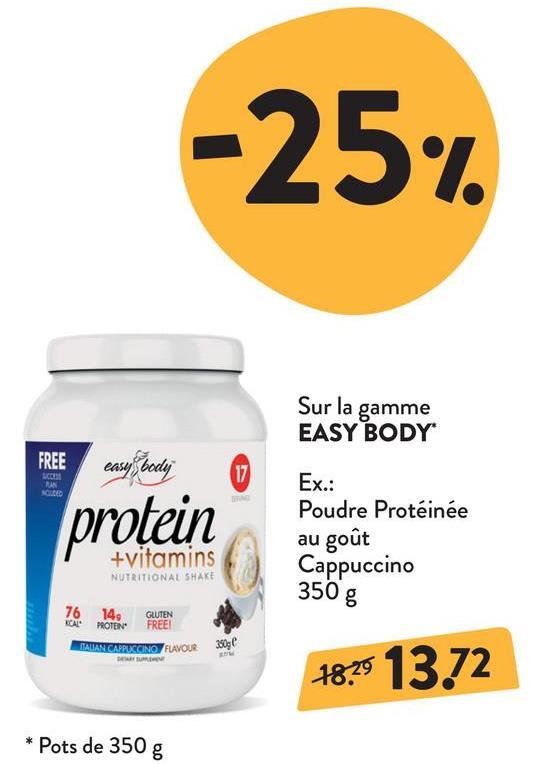 EASY BODY Protein + vitamins Chocolat - 350 g EASY BODY Protein + vitamins Chocolat - 350 g