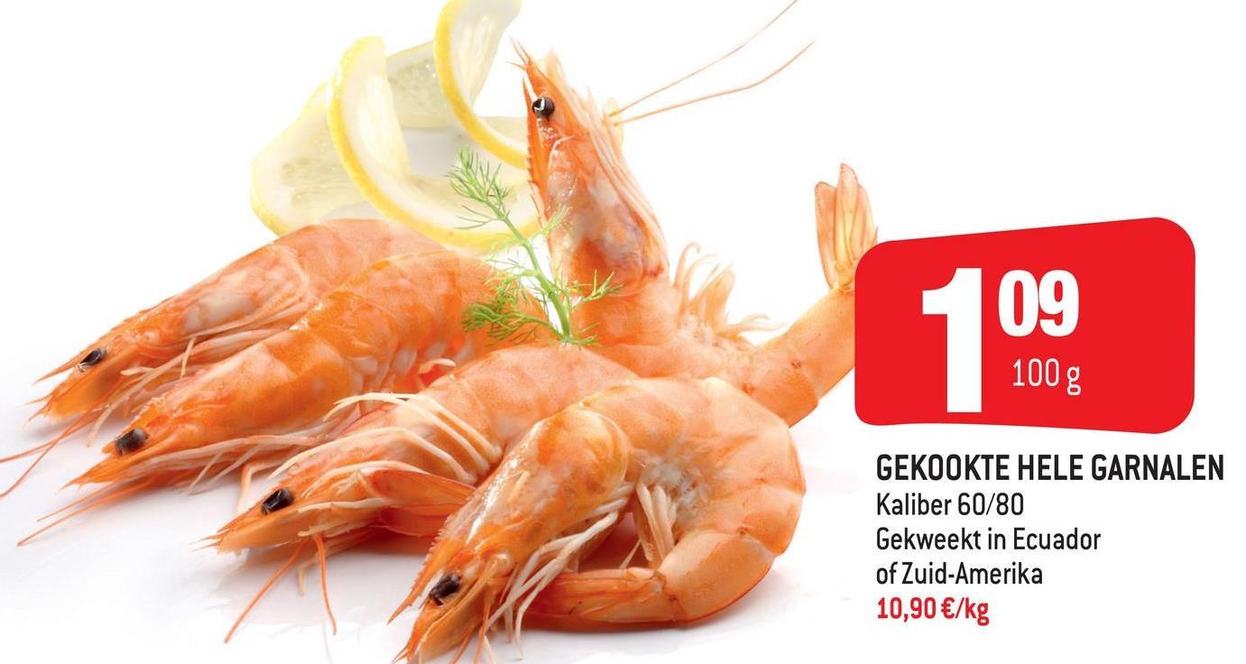 109 109 100 g GEKOOKTE HELE GARNALEN Kaliber 60/80 Gekweekt in Ecuador of Zuid-Amerika 10,90 €/kg