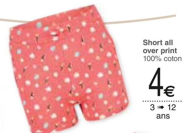 Short all over print 100% coton 3 12 ans