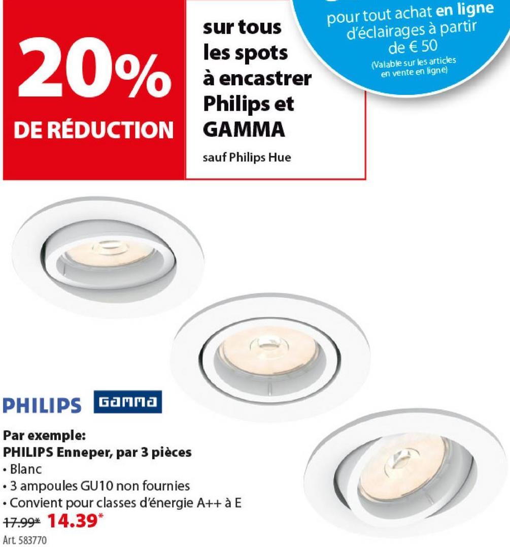 Spot encastrable Philips Enneper excl GU10 rond orientable max. 5,5W b -