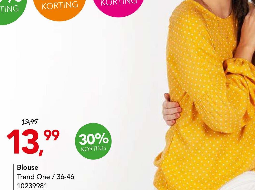 Blouse Trend One Oker Dames Trendy blouse met bolletjesprint en ballonmouwen van het merk Trend One voor vrouwen.