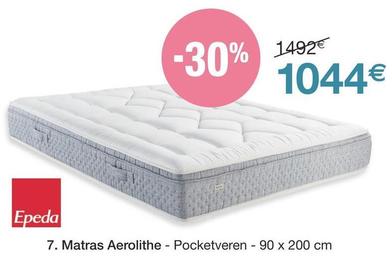 1492€ -30% 30 For 1044€ Epeda 7. Matras Aerolithe - Pocketveren - 90 x 200 cm