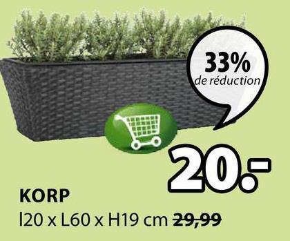 33% de réduction 206 KORP 120 x L60 x H19 cm 29,99