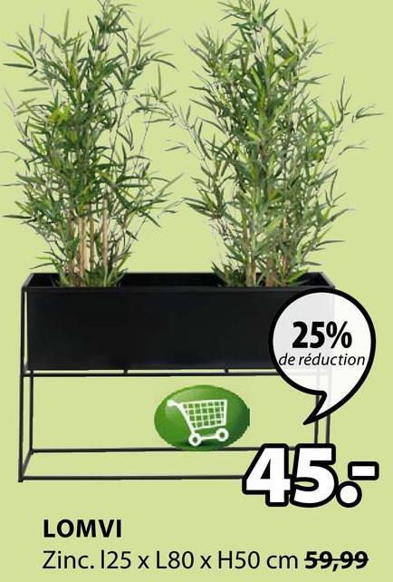 25% de réduction LOMVI Zinc. 125 x L80 x H50 cm 59,99
