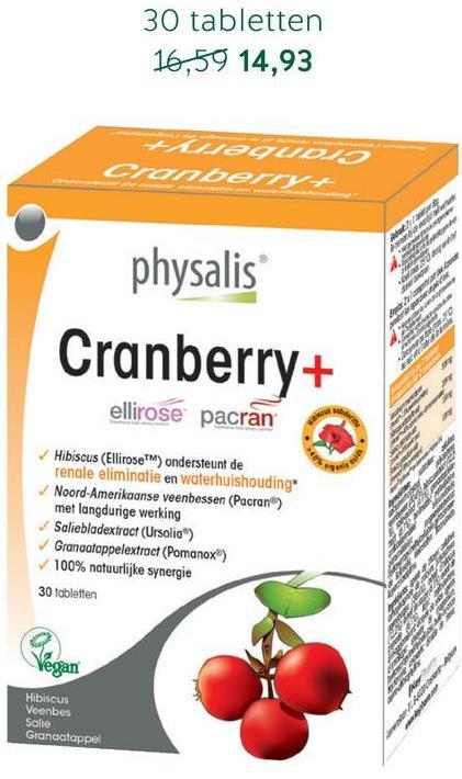 30 tabletten 16,59 14,93 HMAguDIS anberry physalis Cranberry+ ellirose pacran Hibiscus (Ellirose ) ondersteunt de renale eliminatie en waterhuishouding Noord-Amerikaanse veenbessen (Pacran) met langdurige werking Salieblodextract (Ursolia) Granaatappelextract (Pomanox) 100% natuurlijke synergie 30 tabletten Vegan Hibiscus Veenbes Salie Granaatappel