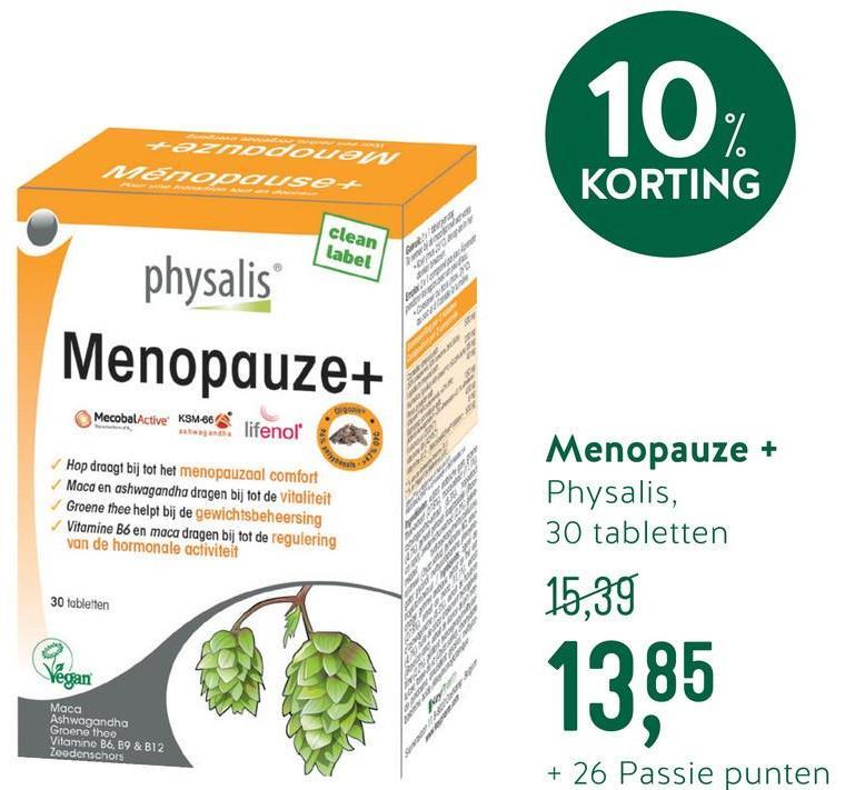 Physalis Menopauze+ (30 Tabletten) <ul><li>Tabletten van maca, groene thee en vitamine B </li> <li>Reguleert mede de activiteiten van de hormonen</li> <li>Rijk aan antioxidanten </li> <li>Ondersteunt het geestelijk welzijn </li> <li>Draagt bij aan een fit gevoel</li></ul>  Menopauze+ van Physalis is speciaal ontwikkeld voor vrouwen in de menopauze. De formule combineert de kracht van kruiden, zoals maca en groene thee, met diverse vitaminen. <br><br>  Groene thee is een natuurlijke vorm van caffeine dat gedurende de dag energie afgeeft. Het bevat tevens antioxidanten die je lichaam helpen beschermen tegen invloeden van buitenaf. Maca bevat maar liefst 31 goed opneembare mineralen en is rijk aan vitamines en essentiële aminozuren. Daarnaast staat het bekend om het ondersteunen van het geestelijk welzijn. <br><br>  Vitamine B6 draagt bij tot de regulering van hormonale activiteiten. Vitamine B12 draagt bij aan een fit gevoel; het activeert de natuurlijke energie in je lichaam en ondersteunt bij vermoeidheid en moeheid.
