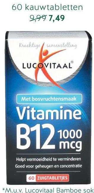 Lucovitaal Vitamine B12, 1000mcg (30 Kauwtabletten) Lucovitaal Vitamine B12 bevat 1000mcg per kauwtabletje. De tabletjes zijn eenvoudig in gebruik, handig voor wie moeite heeft met tabletten slikken, en hebben een lekkere kersensmaak.<br><br>Vitamine B12 is van belang voor de bloedcellen, het zenuwstelsel en het immuunsysteem.