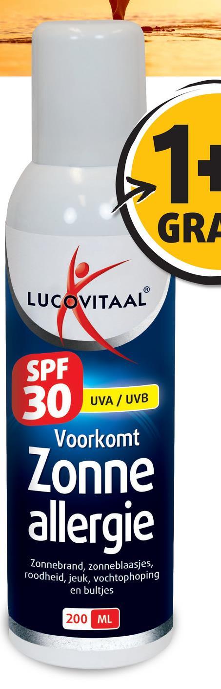 GRA LUCOVITAAL SPF UVA / UVB Voorkomt Zonne allergie Zonnebrand, zonneblaasjes, Toodheid, jeuk, vochtophoping en bultjes 200 ML