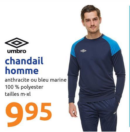 umbro chandail homme anthracite ou bleu marine 100 % polyester tailles m-xl 995