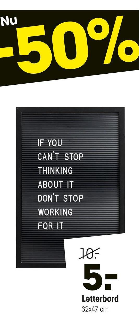 Letterbord Zwart Letterbord zwart met letters om zelf woorden mee te creëren. 47x32 cm (lxb).
