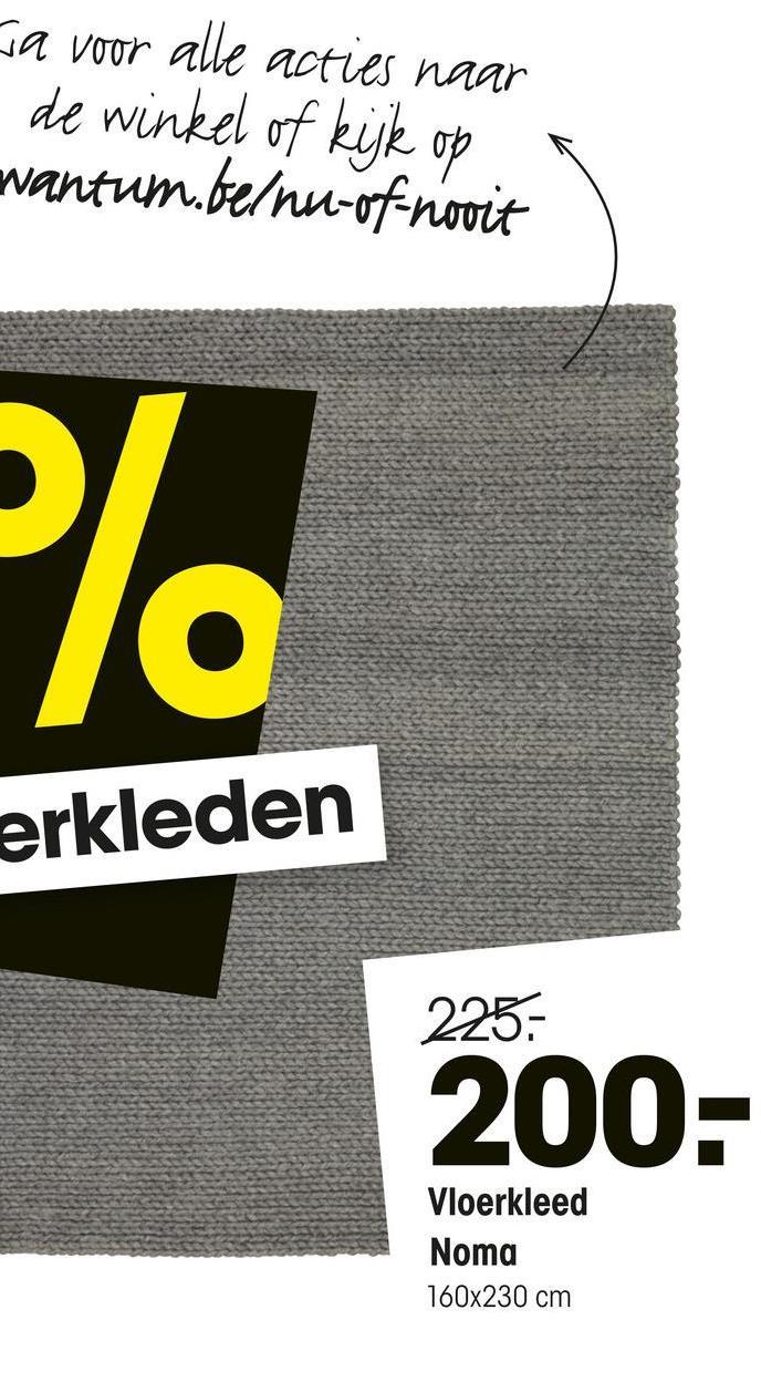 ja voor alle acties naar de winkel of kijk op wantum.be/nu-of-nooit erkleden 225- 200- Vloerkleed Noma 160x230 cm