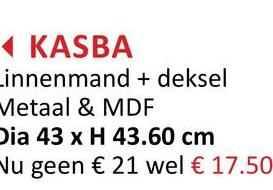 KASBA Linnenmand + deksel Metaal & MDF Dia 43 x H 43.60 cm u geen € 21 wel € 17.50