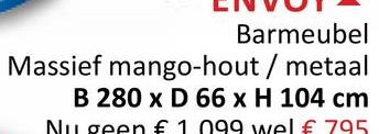 LIVUT Barmeubel Massief mango-hout / metaal B 280 x D 66 x H 104 cm Nu geen € 1 099 wel € 795