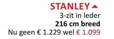 STANLEY A 3-zit in leder 216 cm breed Nu geen € 1.229 wel € 1.099