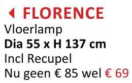 FLORENCE Vloerlamp Dia 55 x H 137 cm Incl Recupel Nu geen € 85 wel € 69