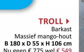 TROLL Barkast Massief mango-hout B 180 x D 55 x H 106 cm Nu geen € 775 wel € 549