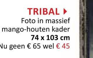 TRIBAL Foto in massief mango-houten kader 74 x 103 cm Vu geen € 65 wel € 45