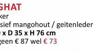 БНАТ ker sief mangohout / geitenleder - x D 35 x H 76 cm een € 87 wel € 73
