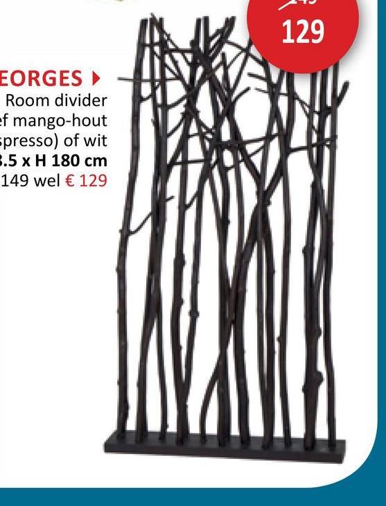 129 EORGES Room divider ef mango-hout spresso) of wit 3.5 x H 180 cm 149 wel € 129