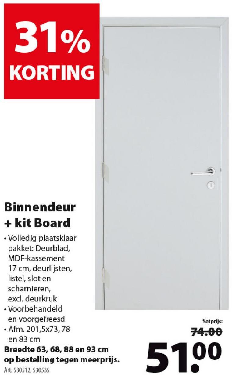 CanDo binnendeur deurblad board wit 201,5x73 cm -