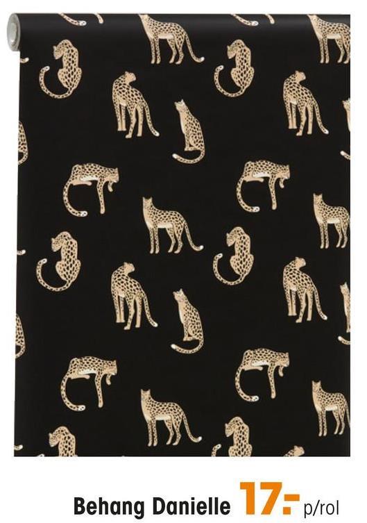 Behang Daniëlle Zwart vliesbehang met jachtluipaardprint. Licht afwasbaar. Plakken met Perfax Roll-On. 10 meter per rol.