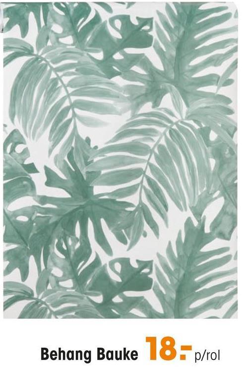 Behang Bauke Vliesbehang met een groene botanische print. Plakken met Perfax Roll-On.