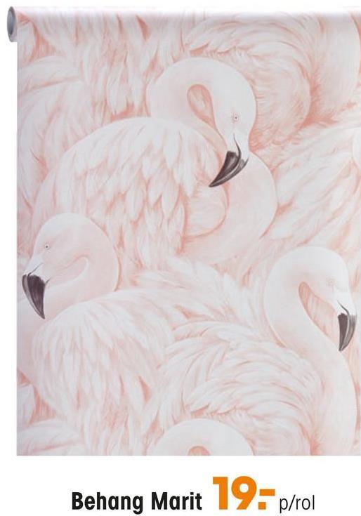 Behang Marit Roze vliesbehang met een dessin van flamingo's. Plakken met Perfax Roll-On.