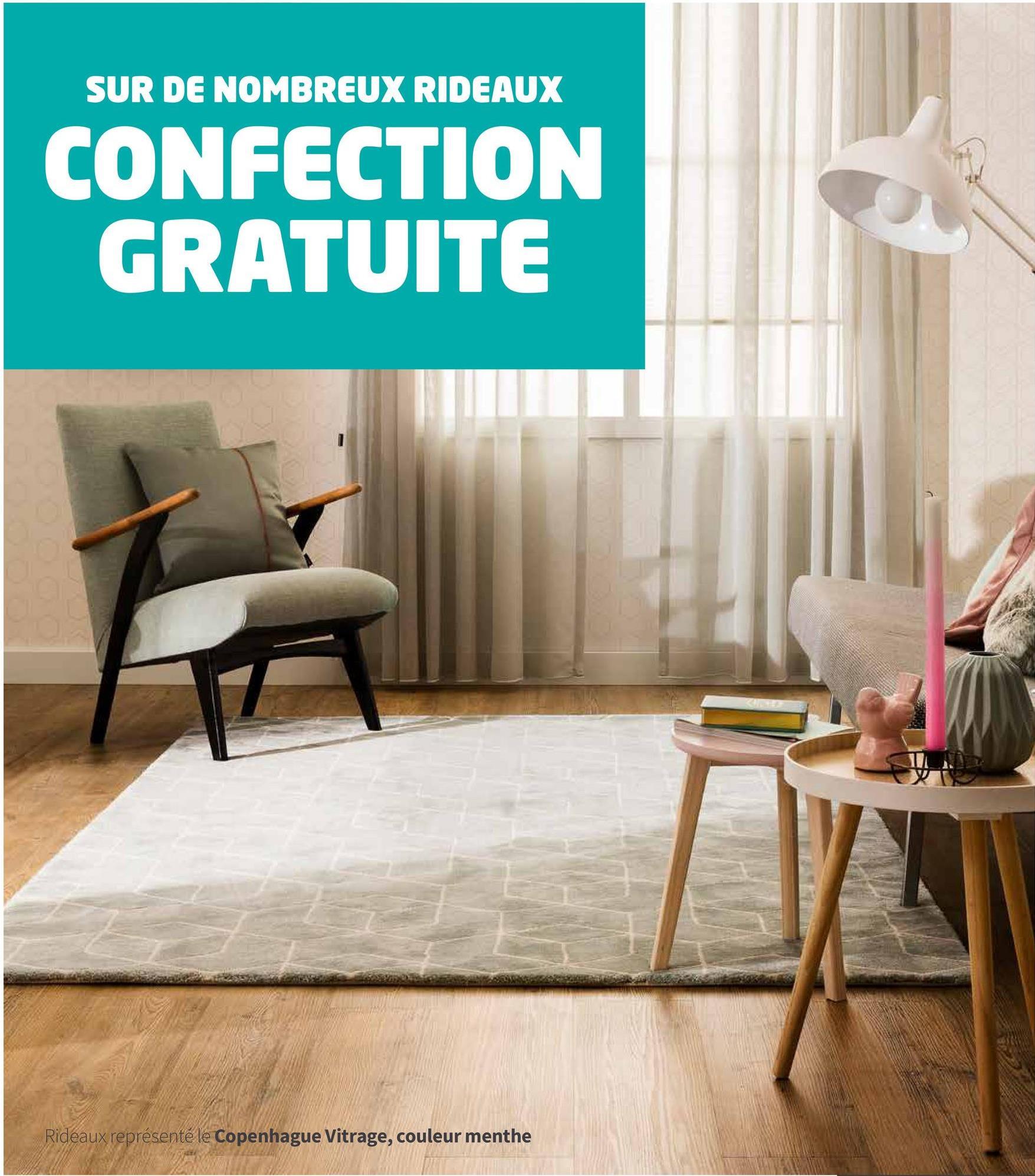 SUR DE NOMBREUX RIDEAUX CONFECTION GRATUITE Rideaux représenté le Copenhague Vitrage, couleur menthe