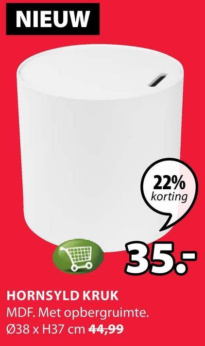 NIEUW 22% korting 35.- HORNSYLD KRUK MDF. Met opbergruimte. Ø38 x H37 cm 44,99
